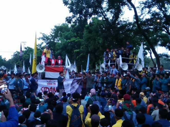 Suasana demonstrasi di Kota Langsa