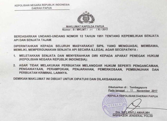 Maklumat Kapolda Papua