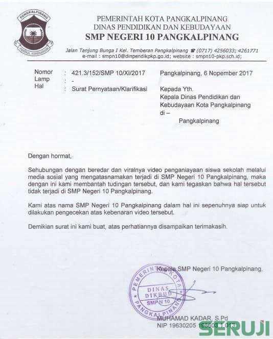 Surat bantahan SMPN 10 Pangkalpinang