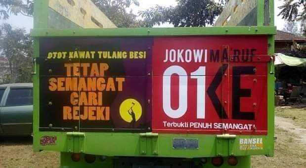 Bak Truk Bertuliskan Jokowi Kh Maruf Berseliweran Di
